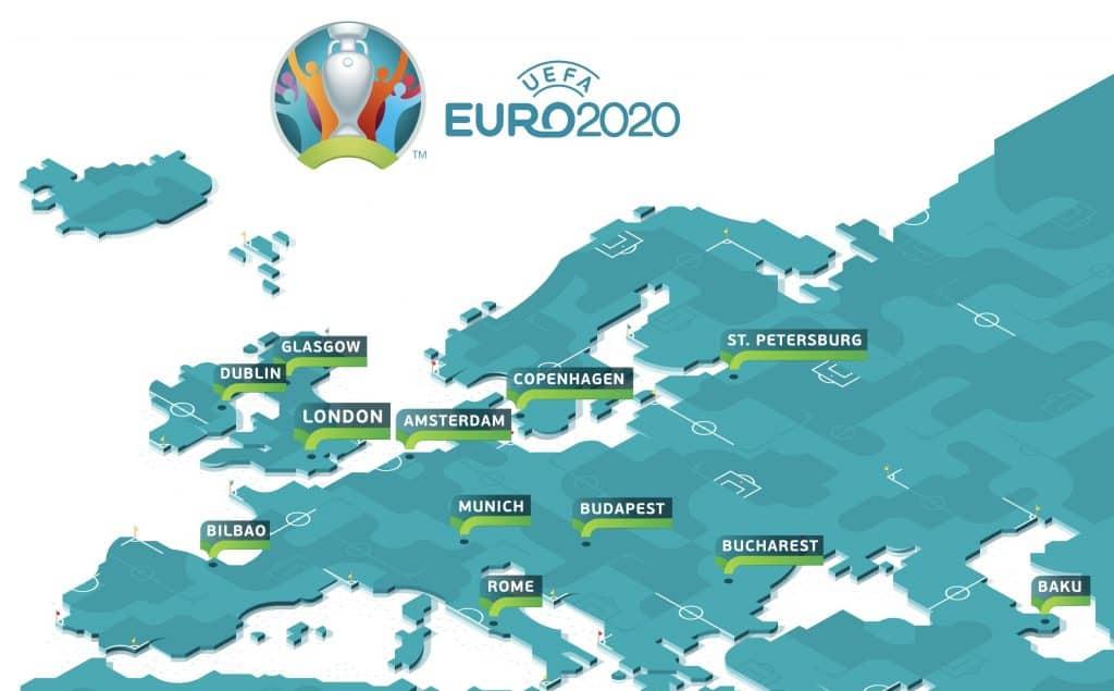 แผนที่ 12 เมืองที่จัดยูโร 2020